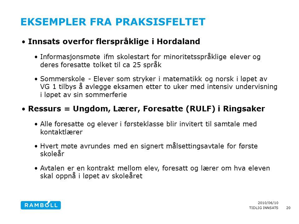 2010/06/10 TIDLIG INNSATS EKSEMPLER FRA PRAKSISFELTET Innsats overfor flerspråklige i Hordaland Informasjonsmøte ifm skolestart for minoritetsspråklig