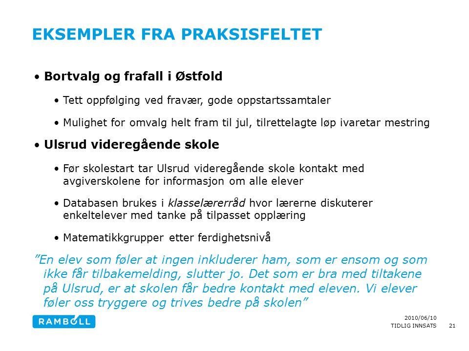 2010/06/10 TIDLIG INNSATS EKSEMPLER FRA PRAKSISFELTET Bortvalg og frafall i Østfold Tett oppfølging ved fravær, gode oppstartssamtaler Mulighet for om