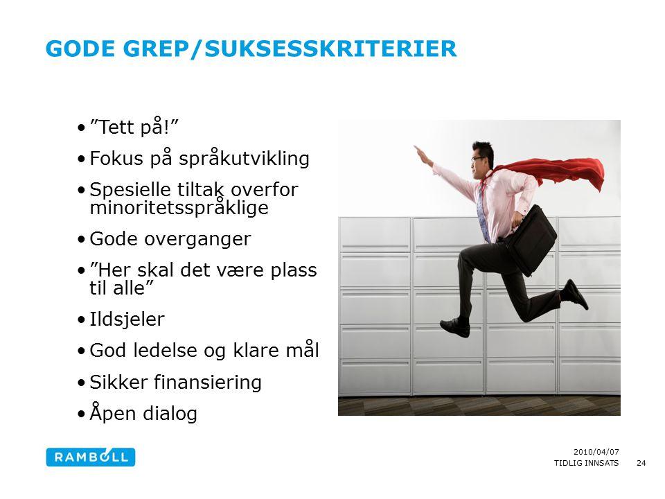 """2010/04/07 TIDLIG INNSATS GODE GREP/SUKSESSKRITERIER """"Tett på!"""" Fokus på språkutvikling Spesielle tiltak overfor minoritetsspråklige Gode overganger """""""