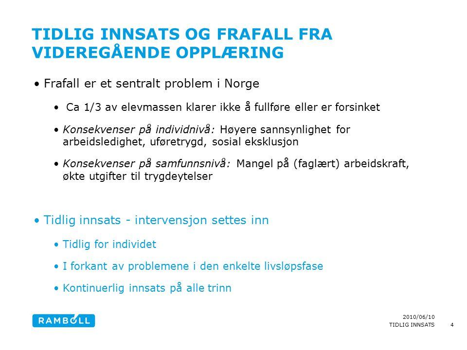 2010/06/10 TIDLIG INNSATS TIDLIG INNSATS OG FRAFALL FRA VIDEREGÅENDE OPPLÆRING Frafall er et sentralt problem i Norge Ca 1/3 av elevmassen klarer ikke å fullføre eller er forsinket Konsekvenser på individnivå: Høyere sannsynlighet for arbeidsledighet, uføretrygd, sosial eksklusjon Konsekvenser på samfunnsnivå: Mangel på (faglært) arbeidskraft, økte utgifter til trygdeytelser Tidlig innsats - intervensjon settes inn Tidlig for individet I forkant av problemene i den enkelte livsløpsfase Kontinuerlig innsats på alle trinn 4