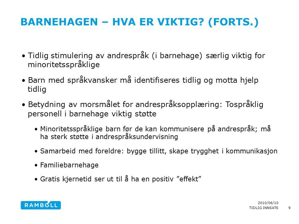 2010/06/10 TIDLIG INNSATS BARNEHAGEN – HVA ER VIKTIG? (FORTS.) Tidlig stimulering av andrespråk (i barnehage) særlig viktig for minoritetsspråklige Ba