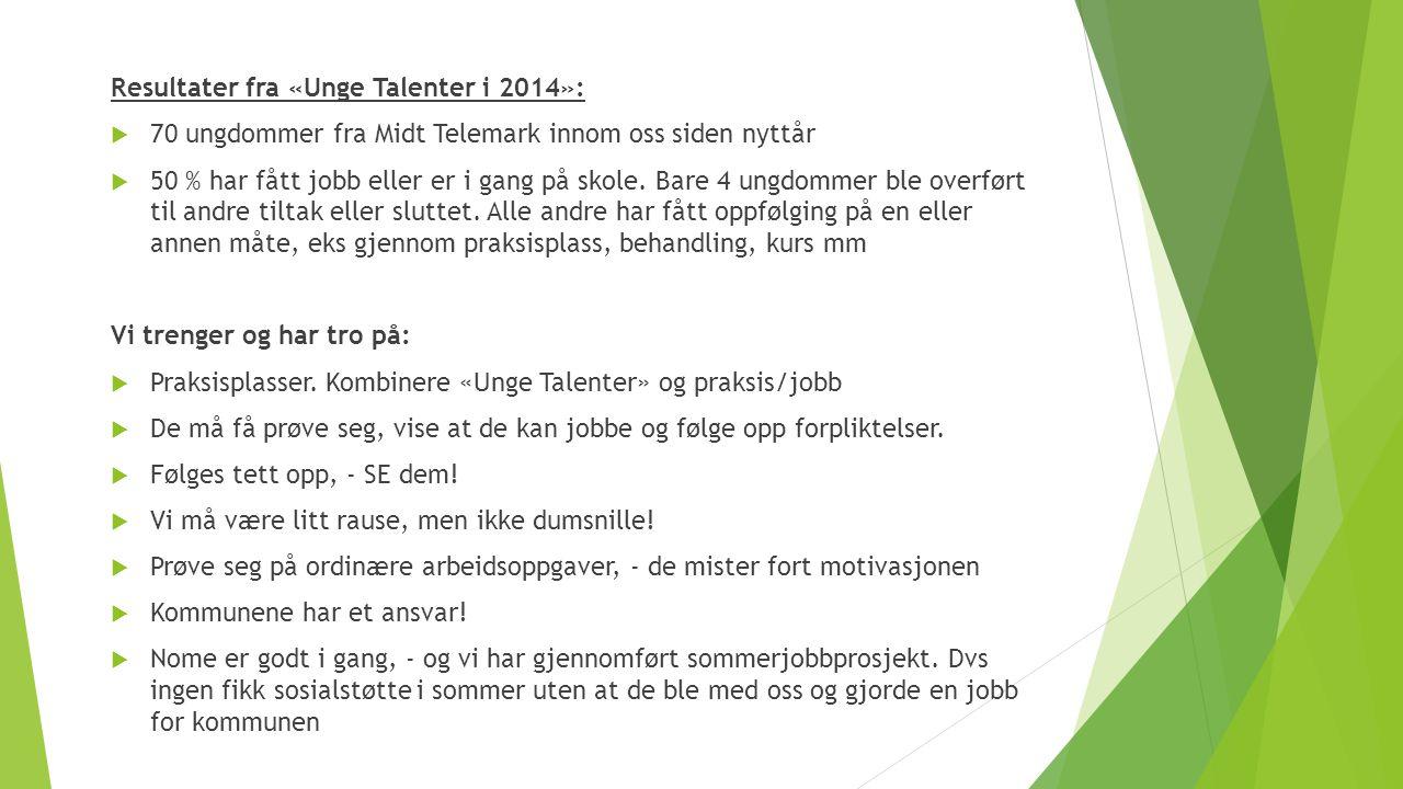 Resultater fra «Unge Talenter i 2014»:  70 ungdommer fra Midt Telemark innom oss siden nyttår  50 % har fått jobb eller er i gang på skole. Bare 4 u