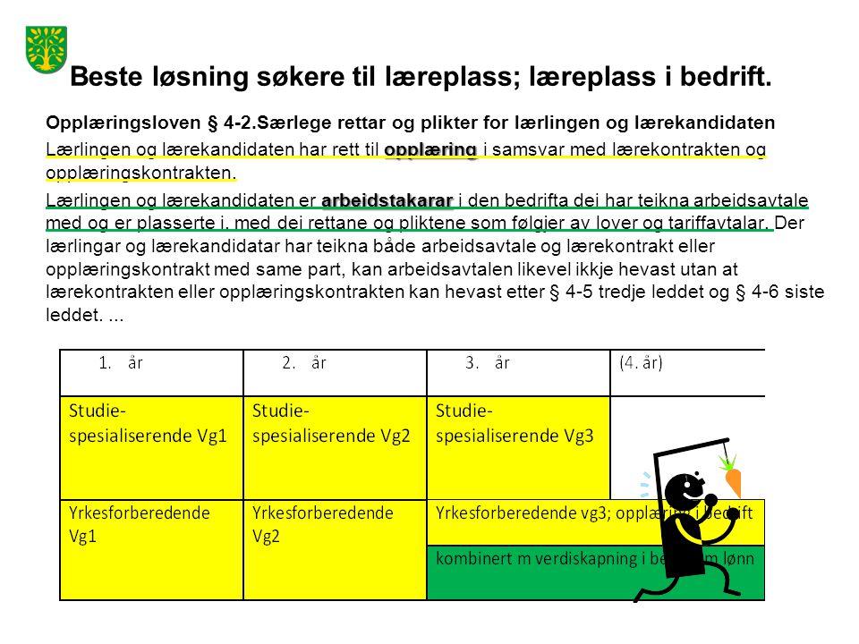 Nest beste løsning for søkere til læreplass: Opplæringsloven § 3-3.Opplæringsordninga for den vidaregåande opplæringa, forts.