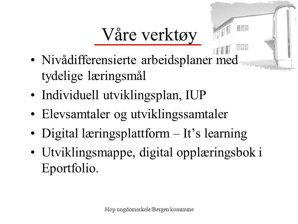 Hop ungdomsskole/Bergen kommune Våre verktøy Nivådifferensierte arbeidsplaner med tydelige læringsmål Individuell utviklingsplan, IUP Elevsamtaler og
