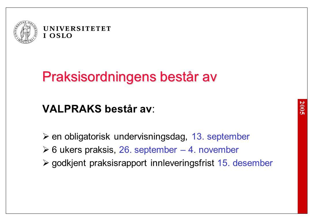 2005 Praksisordningens består av VALPRAKS består av:  en obligatorisk undervisningsdag, 13.