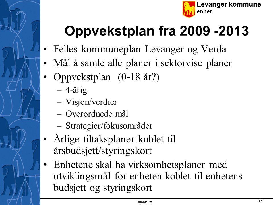 Levanger kommune enhet Bunntekst 15 Oppvekstplan fra 2009 -2013 Felles kommuneplan Levanger og Verda Mål å samle alle planer i sektorvise planer Oppvekstplan (0-18 år?) –4-årig –Visjon/verdier –Overordnede mål –Strategier/fokusområder Årlige tiltaksplaner koblet til årsbudsjett/styringskort Enhetene skal ha virksomhetsplaner med utviklingsmål for enheten koblet til enhetens budsjett og styringskort