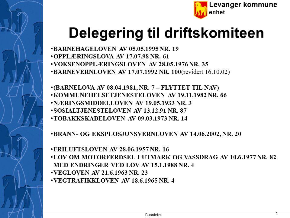 Levanger kommune enhet Bunntekst 2 Delegering til driftskomiteen BARNEHAGELOVEN AV 05.05.1995 NR.