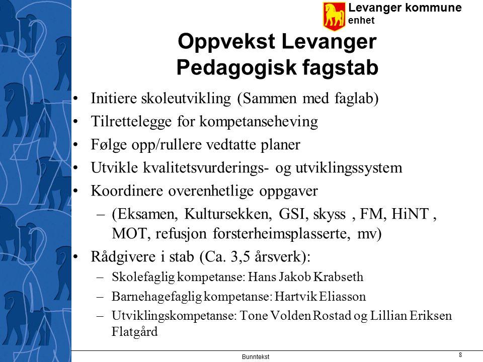 Levanger kommune enhet Bunntekst 9 Skoleøkonomi Budsjett 2007 156 mill (163 mill etter justering).