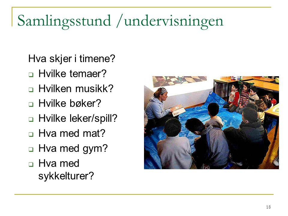 18 Samlingsstund /undervisningen Hva skjer i timene?  Hvilke temaer?  Hvilken musikk?  Hvilke bøker?  Hvilke leker/spill?  Hva med mat?  Hva med
