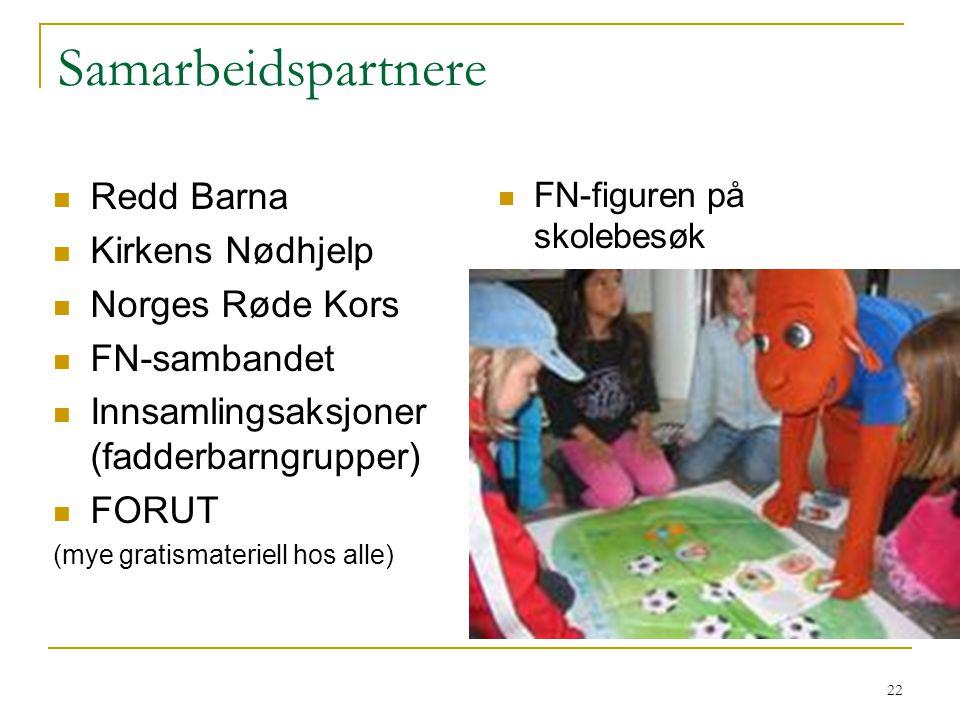 22 Samarbeidspartnere Redd Barna Kirkens Nødhjelp Norges Røde Kors FN-sambandet Innsamlingsaksjoner (fadderbarngrupper) FORUT (mye gratismateriell hos