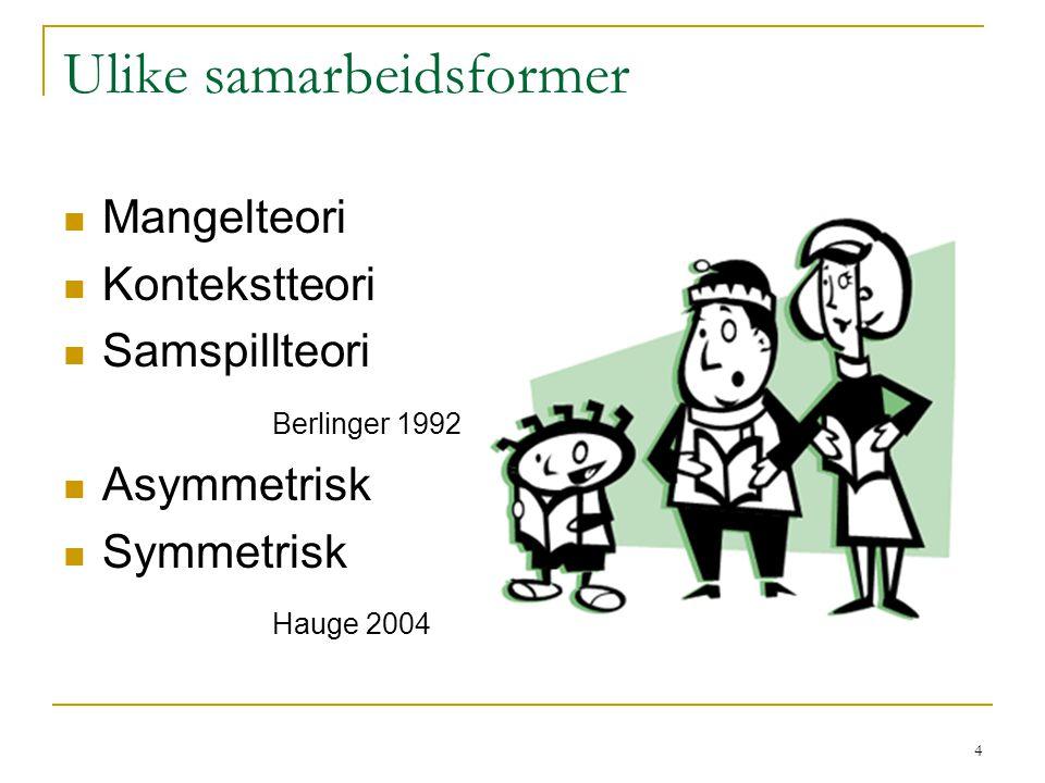 4 Ulike samarbeidsformer Mangelteori Kontekstteori Samspillteori Berlinger 1992 Asymmetrisk Symmetrisk Hauge 2004