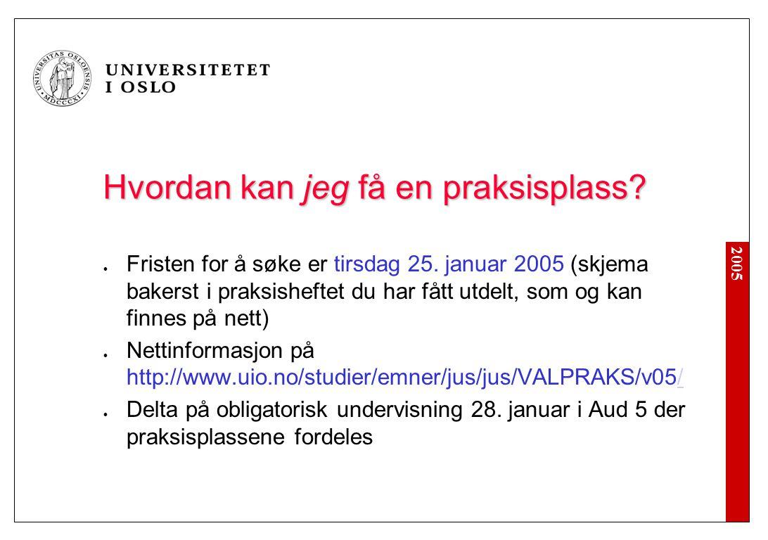 2005 Hvordan kan jeg få en praksisplass? Fristen for å søke er tirsdag 25. januar 2005 (skjema bakerst i praksisheftet du har fått utdelt, som og kan