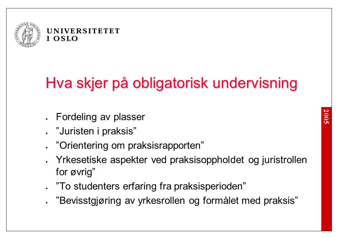 """2005 Hva skjer på obligatorisk undervisning Fordeling av plasser """"Juristen i praksis"""" """"Orientering om praksisrapporten"""" Yrkesetiske aspekter ved praks"""