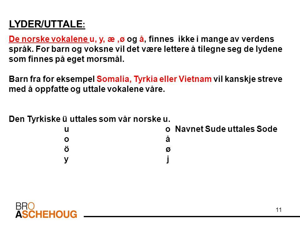 LYDER/UTTALE : De norske vokalene u, y, æ,ø og å, finnes ikke i mange av verdens språk. For barn og voksne vil det være lettere å tilegne seg de lyden