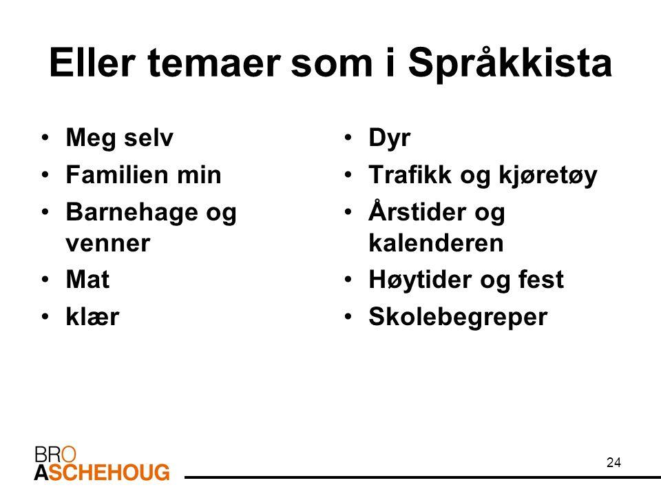 Eller temaer som i Språkkista Meg selv Familien min Barnehage og venner Mat klær Dyr Trafikk og kjøretøy Årstider og kalenderen Høytider og fest Skole