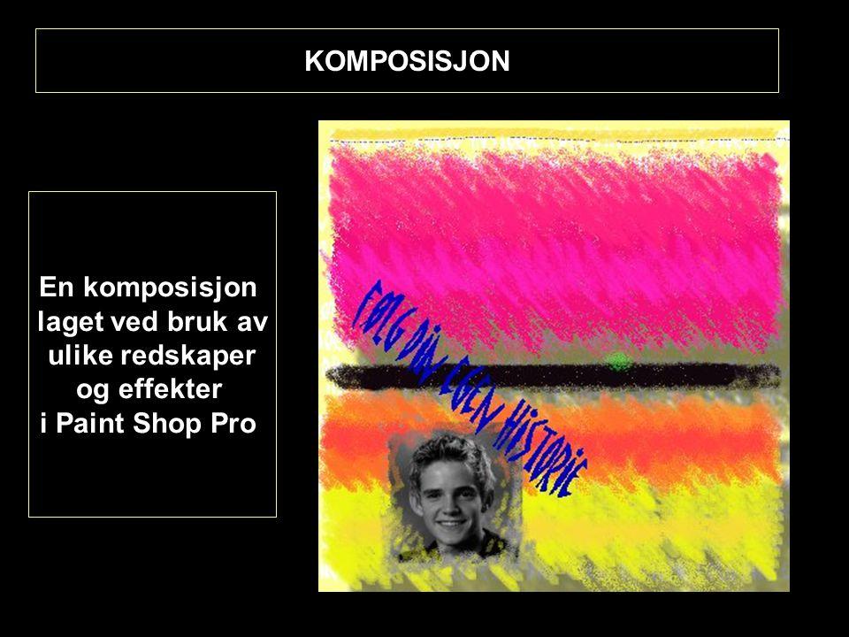 KOMPOSISJON En komposisjon laget ved bruk av ulike redskaper og effekter i Paint Shop Pro