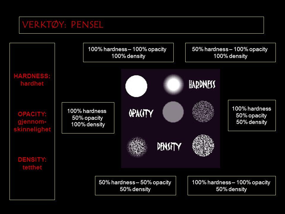 VERKTØY: PENSEL 50% hardness – 50% opacity 50% density 100% hardness – 100% opacity 50% density 100% hardness – 100% opacity 100% density 50% hardness – 100% opacity 100% density 100% hardness 50% opacity 100% density 100% hardness 50% opacity 50% density HARDNESS: hardhet OPACITY: gjennom- skinnelighet DENSITY: tetthet