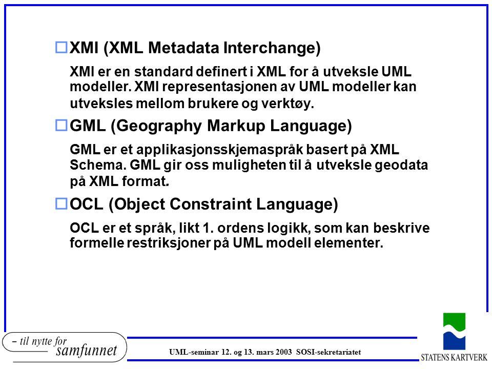 oXMI (XML Metadata Interchange) XMI er en standard definert i XML for å utveksle UML modeller.