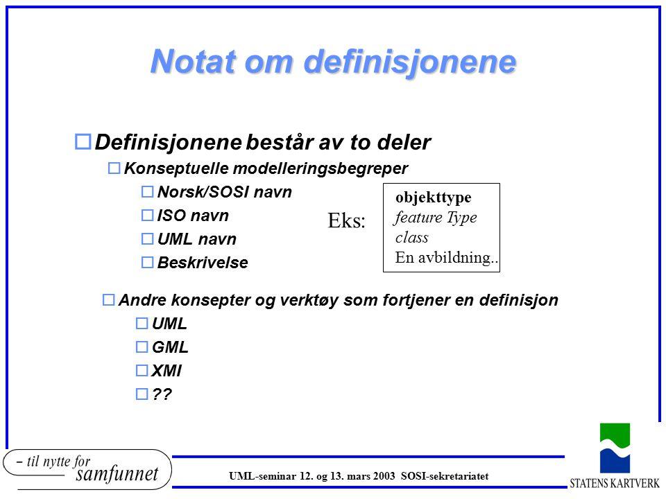 Notat om definisjonene oDefinisjonene består av to deler oKonseptuelle modelleringsbegreper oNorsk/SOSI navn oISO navn oUML navn oBeskrivelse objekttype feature Type class En avbildning..