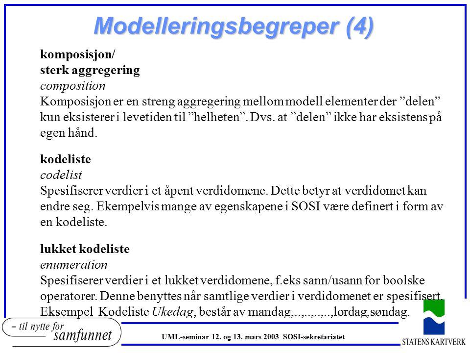 Modelleringsbegreper (4) komposisjon/ sterk aggregering composition Komposisjon er en streng aggregering mellom modell elementer der delen kun eksisterer i levetiden til helheten .