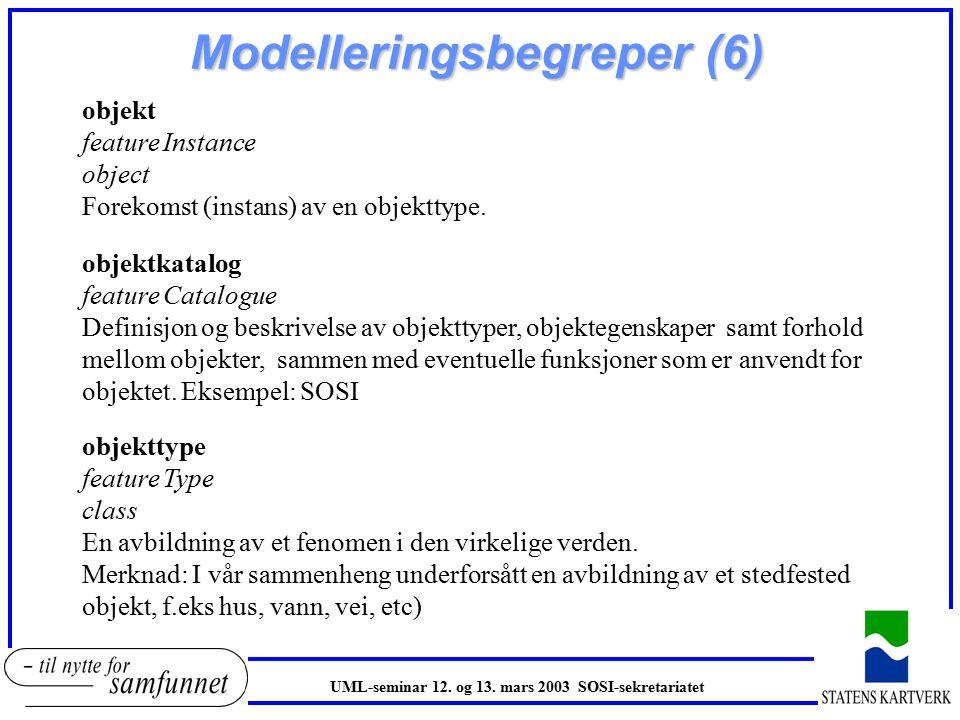Modelleringsbegreper (6) objekt feature Instance object Forekomst (instans) av en objekttype.