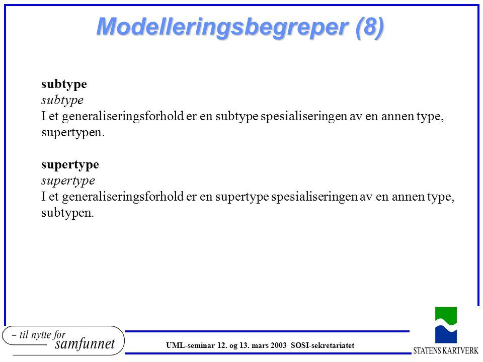 Modelleringsbegreper (8) subtype I et generaliseringsforhold er en subtype spesialiseringen av en annen type, supertypen.