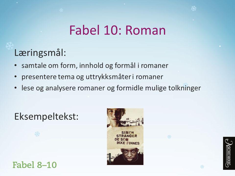 Fabel 10: Roman Læringsmål: samtale om form, innhold og formål i romaner presentere tema og uttrykksmåter i romaner lese og analysere romaner og formidle mulige tolkninger Eksempeltekst: