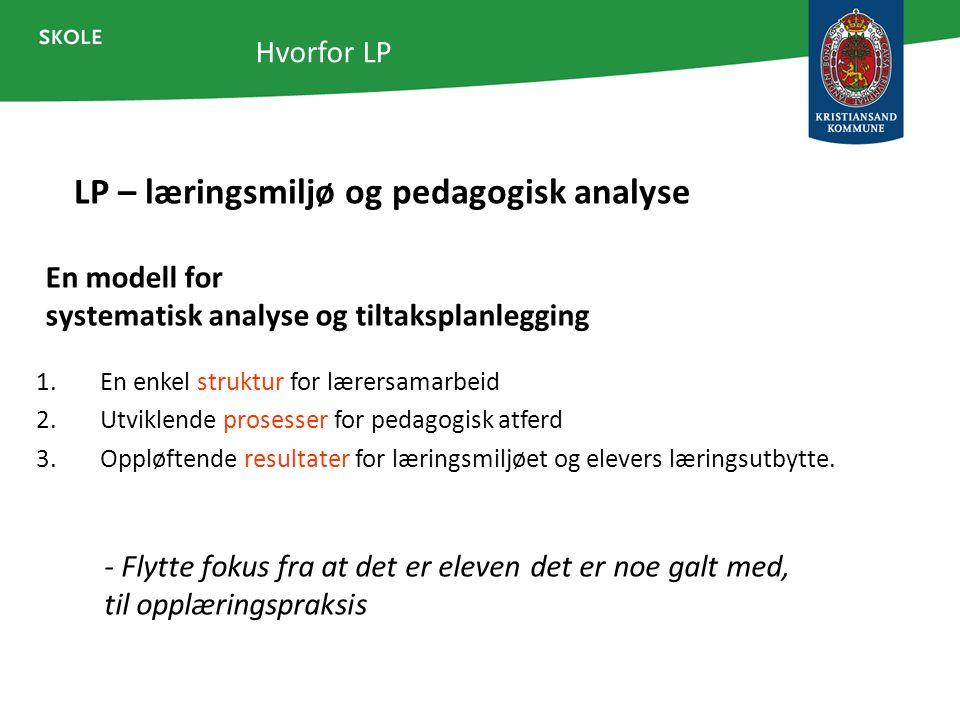 Hvorfor LP En modell for systematisk analyse og tiltaksplanlegging 1.En enkel struktur for lærersamarbeid 2.Utviklende prosesser for pedagogisk atferd