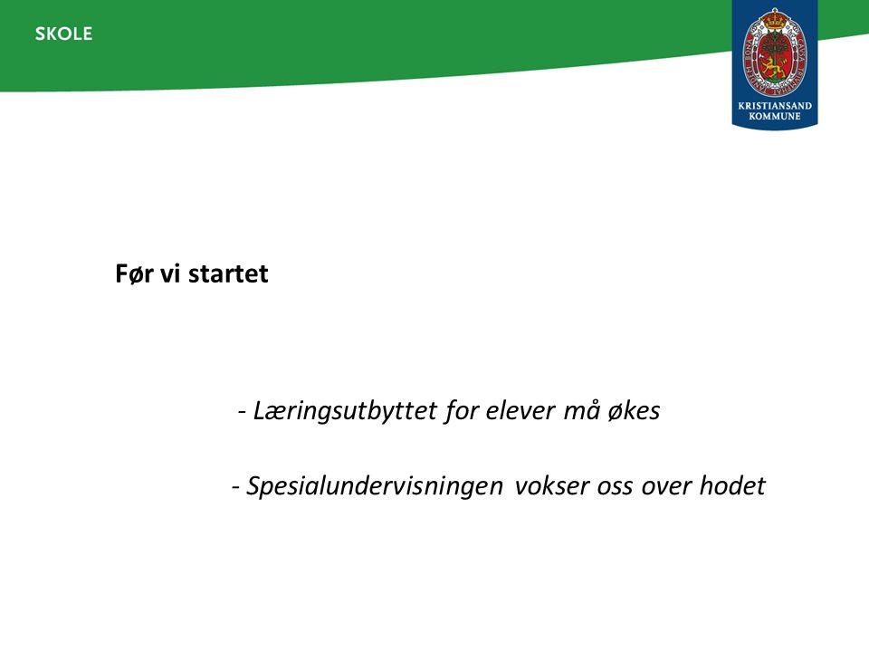 Status for LP Kristiansand Alle skoler som har implementert modellen (13), innarbeider den i daglig praksis – i noe varierende grad.