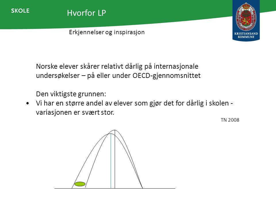 Erkjennelser og inspirasjon Hvorfor LP Norske elever skårer relativt dårlig på internasjonale undersøkelser – på eller under OECD-gjennomsnittet Den v