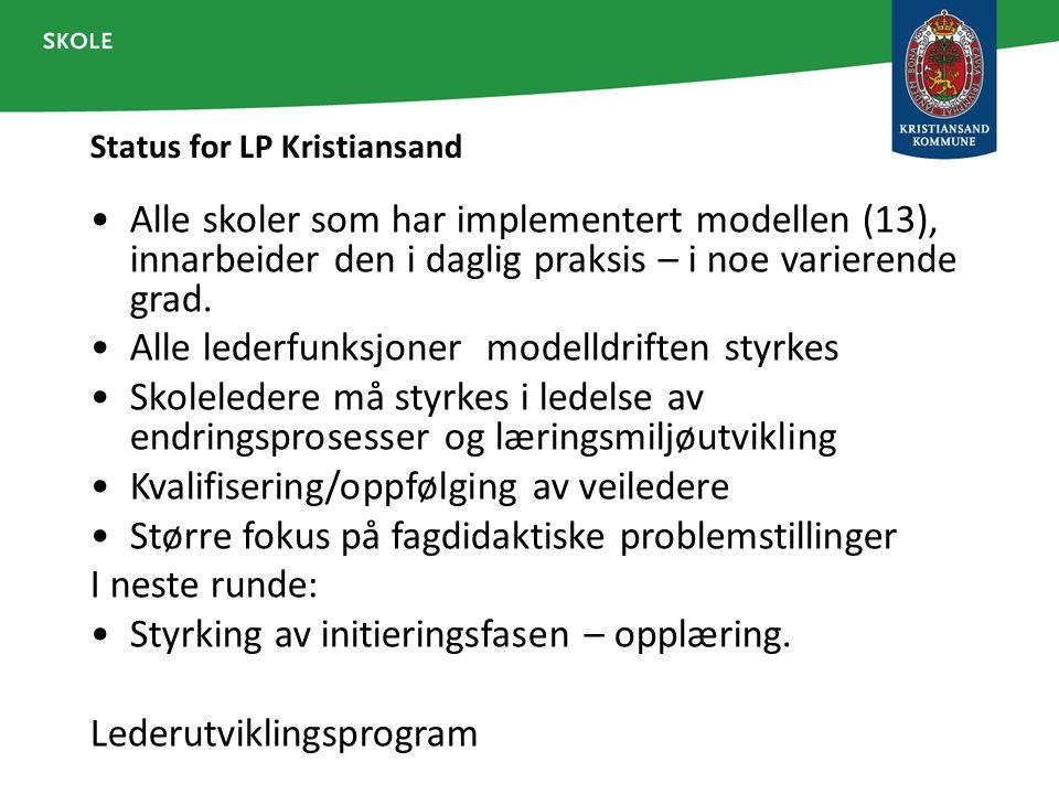 Status for LP Kristiansand Alle skoler som har implementert modellen (13), innarbeider den i daglig praksis – i noe varierende grad. Alle lederfunksjo