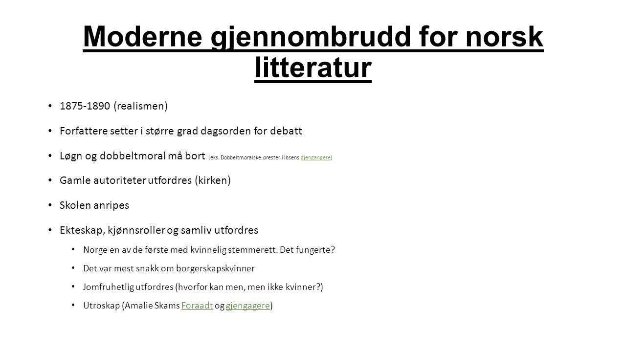 Moderne gjennombrudd for norsk litteratur 1875-1890 (realismen) Forfattere setter i større grad dagsorden for debatt Løgn og dobbeltmoral må bort (eks
