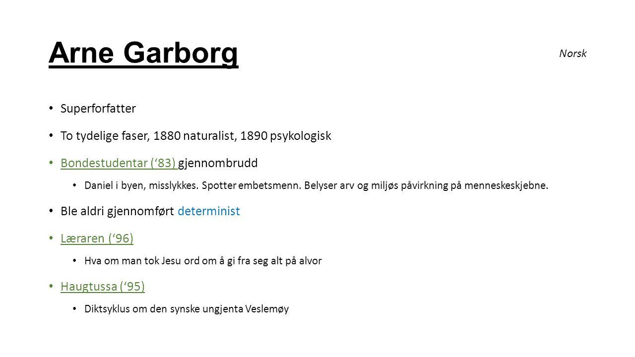 Arne Garborg Superforfatter To tydelige faser, 1880 naturalist, 1890 psykologisk Bondestudentar ('83) gjennombrudd Daniel i byen, misslykkes. Spotter