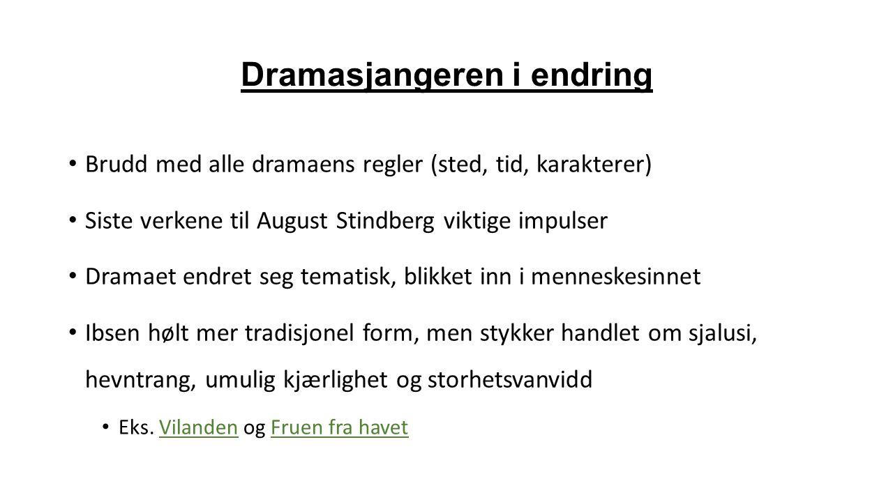 Dramasjangeren i endring Brudd med alle dramaens regler (sted, tid, karakterer) Siste verkene til August Stindberg viktige impulser Dramaet endret seg