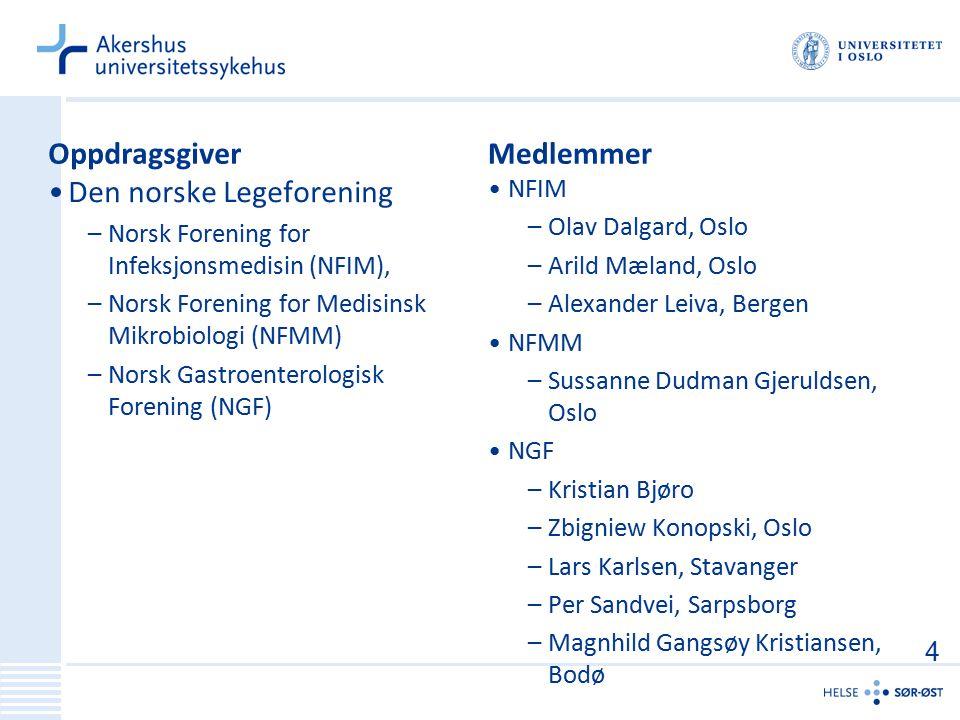 Oppdragsgiver Den norske Legeforening –Norsk Forening for Infeksjonsmedisin (NFIM), –Norsk Forening for Medisinsk Mikrobiologi (NFMM) –Norsk Gastroent