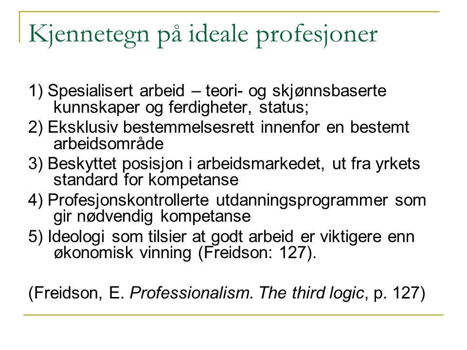 Kjennetegn på ideale profesjoner 1) Spesialisert arbeid – teori- og skjønnsbaserte kunnskaper og ferdigheter, status; 2) Eksklusiv bestemmelsesrett in