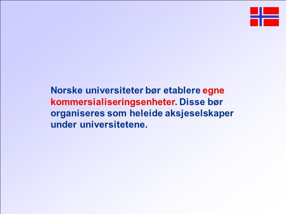 Norske universiteter bør etablere egne kommersialiseringsenheter.