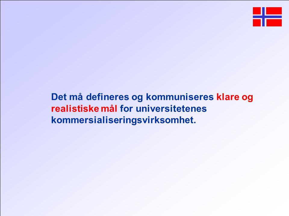 Det må defineres og kommuniseres klare og realistiske mål for universitetenes kommersialiseringsvirksomhet.