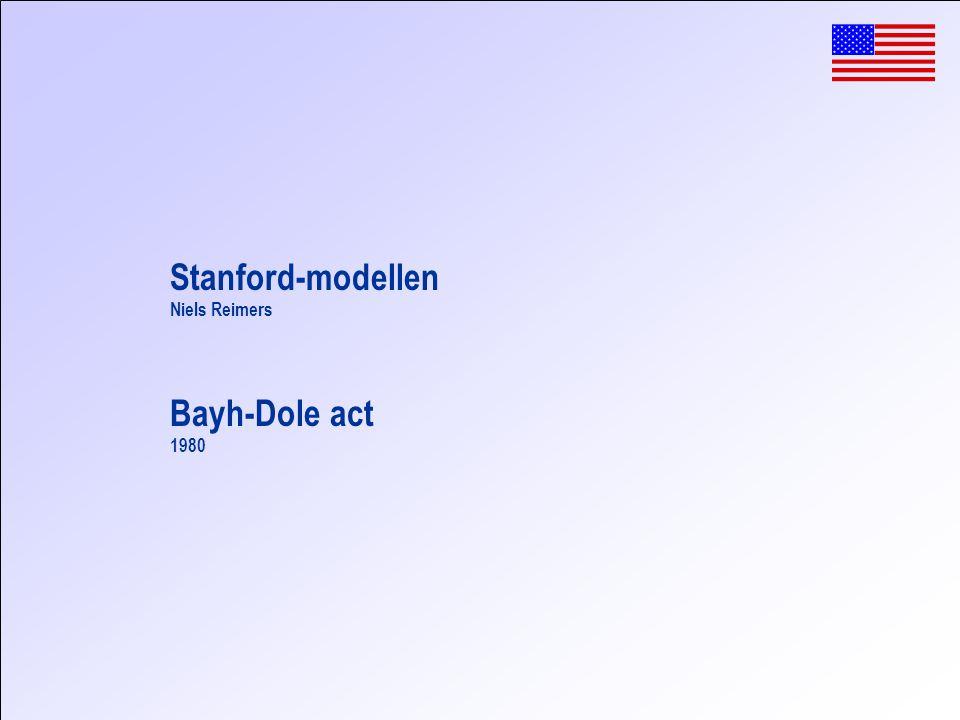 Bayh-Dole act 1980 Stanford-modellen Niels Reimers