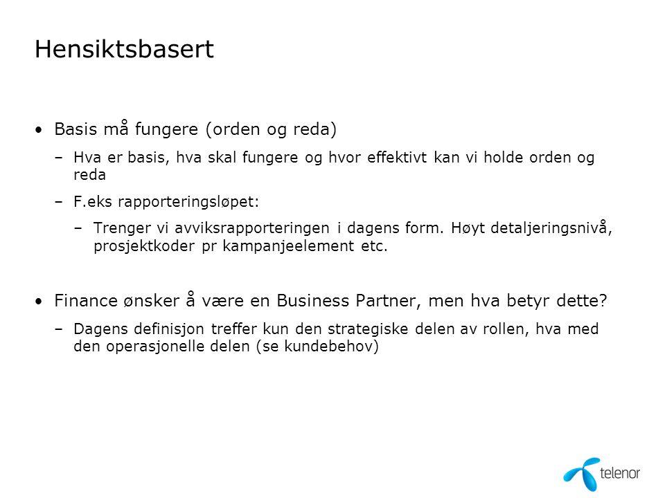 Hensiktsbasert Basis må fungere (orden og reda) –Hva er basis, hva skal fungere og hvor effektivt kan vi holde orden og reda –F.eks rapporteringsløpet