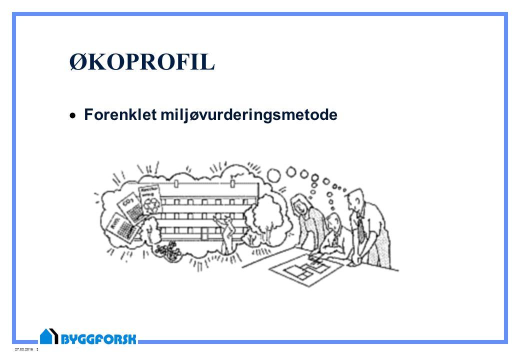 27.03.2015 3 Hvorfor Økoprofil og miljøvurdering.