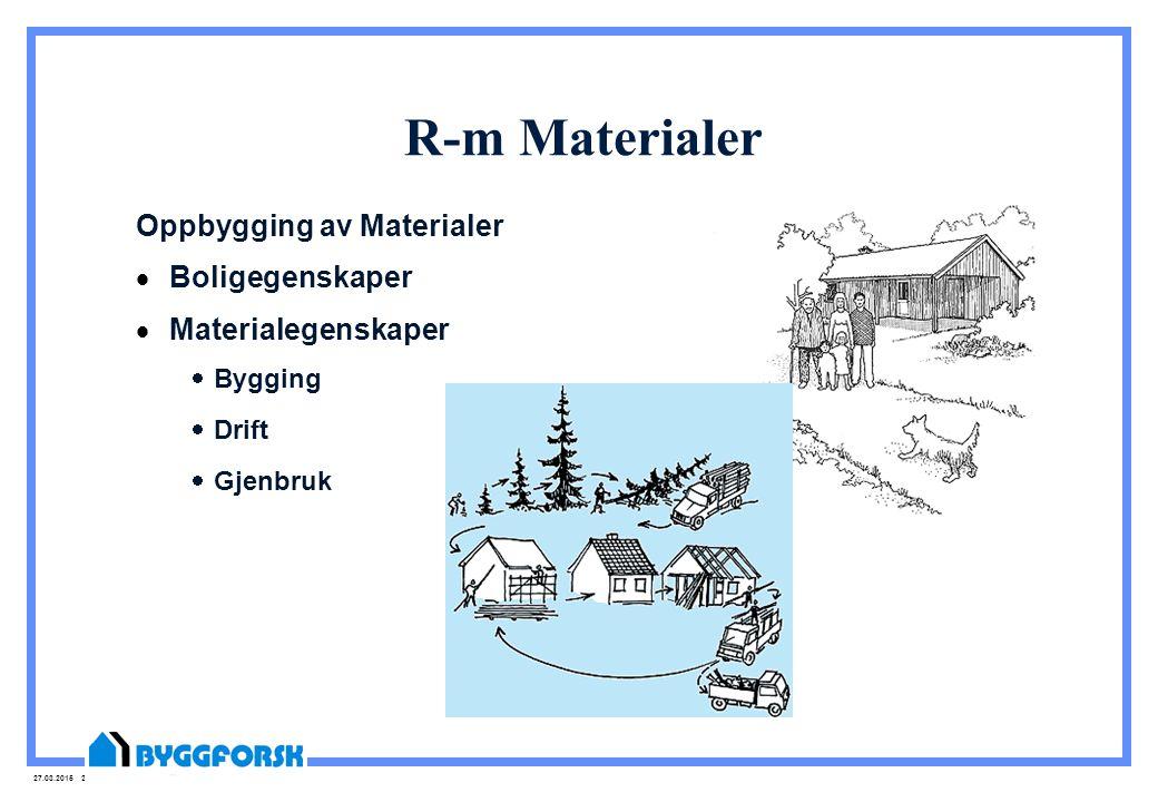 27.03.2015 21 R-m Materialer Oppbygging av Materialer  Boligegenskaper  Materialegenskaper  Bygging  Drift  Gjenbruk
