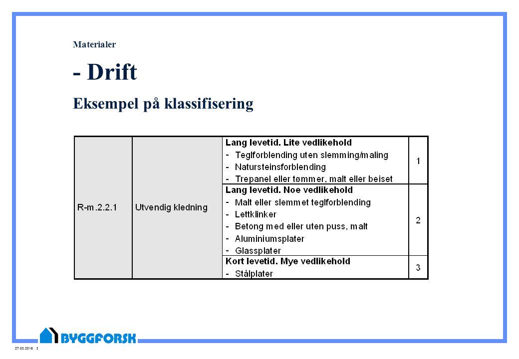 27.03.2015 23 Materialer - Drift Eksempel på klassifisering