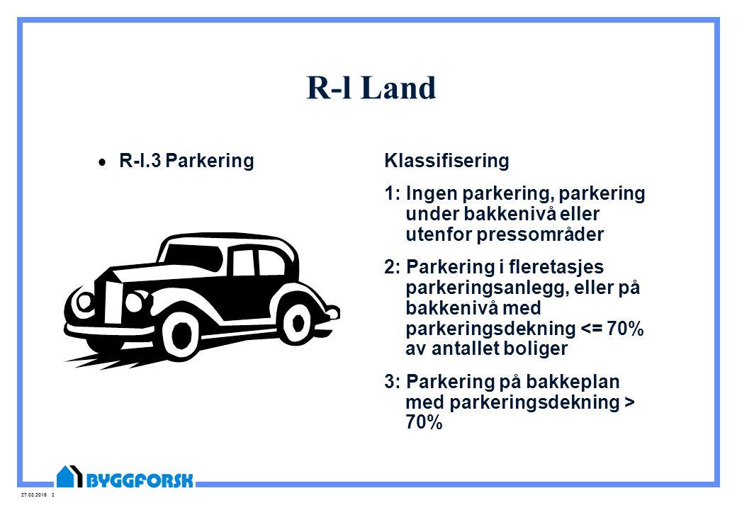 27.03.2015 25 R-l Land  R-l.3 Parkering Klassifisering 1: Ingen parkering, parkering under bakkenivå eller utenfor pressområder 2: Parkering i fleret
