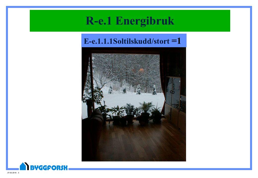 27.03.2015 38 Soltilskudd E-e.1.1.1Soltilskudd/stort =1 R-e.1 Energibruk