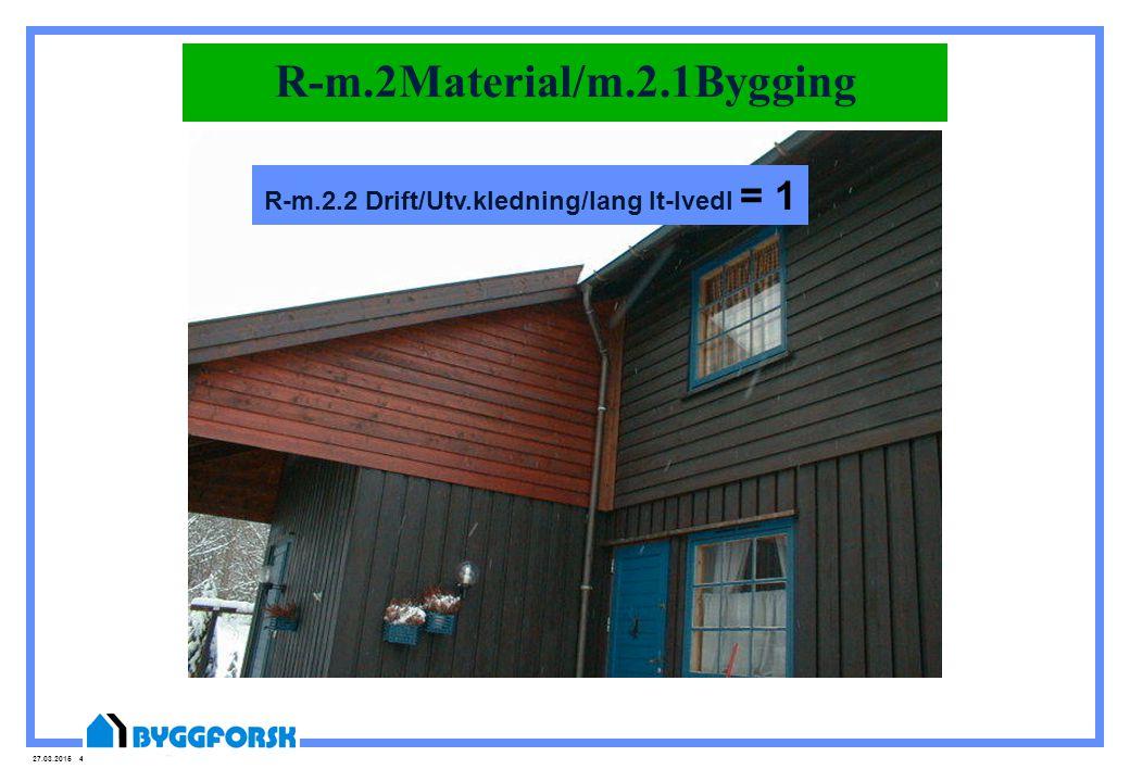 27.03.2015 42 R-m.2Material/m.2.1Bygging R-m.2.2 Drift/Utv.kledning/lang lt-lvedl = 1