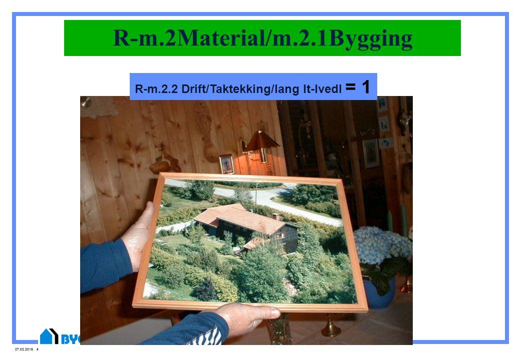 27.03.2015 43 R-m.2Material/m.2.1Bygging R-m.2.2 Drift/Taktekking/lang lt-lvedl = 1