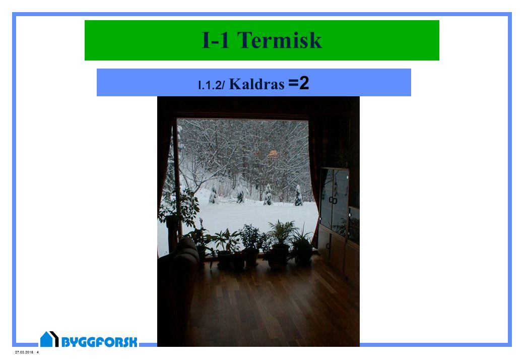 27.03.2015 45 Inneklima-1.2 AtmosfæriskI-1 Termisk I.1.2/ Kaldras =2