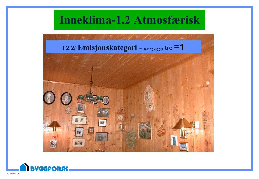 27.03.2015 46 Inneklima-1.2 Atmosfærisk I.2.2/ Emisjonskategori - tak og vegger tre =1