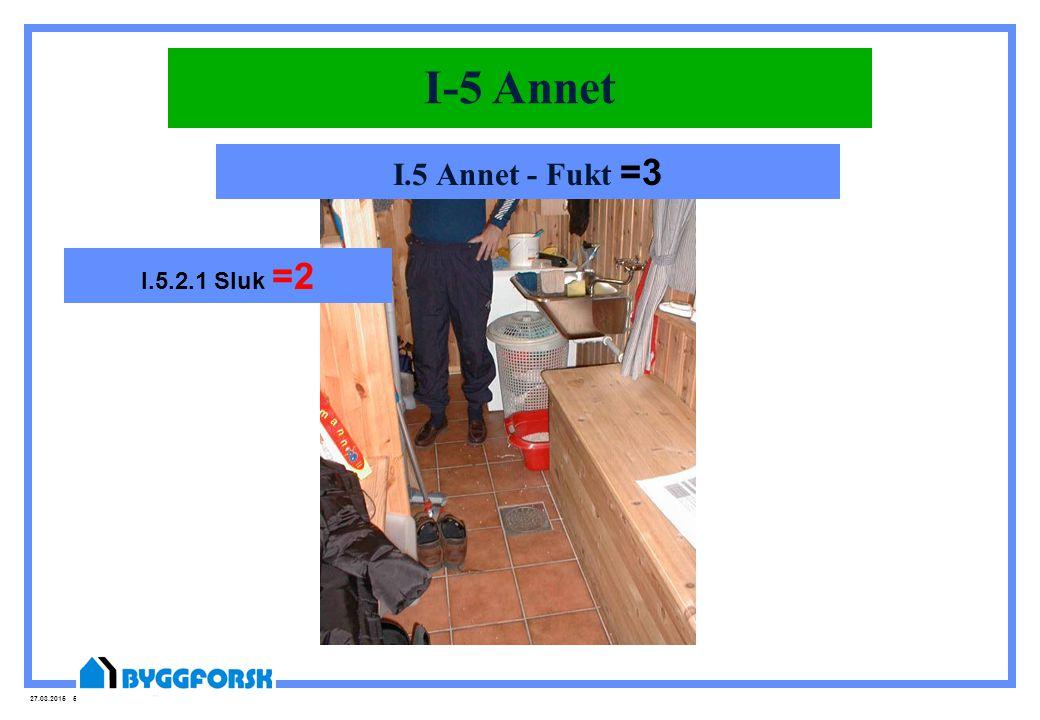 27.03.2015 50 I-5 Annet I.5 Annet - Fukt =3 I.5.2.1 Sluk =2